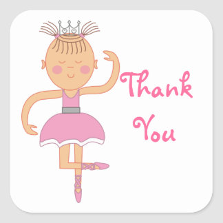 Pink Ballerina Birthday Party Thank You Stickers