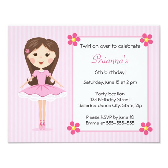 Pink ballerina cute girly birthday invitation