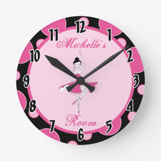 Pink Ballerina Dance Ballet Personalized Clock