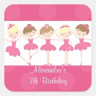 Pink Ballerina Dance Birthday Party Square Sticker