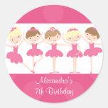Pink Ballerina Dance Birthday Party Sticker