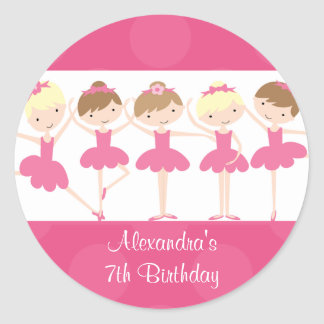 Pink Ballerina Dance Birthday Party Sticker