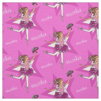 Pink ballerina dark hair girl custom ballet fabric