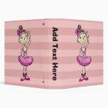 Pink Ballerina Girl 3 Ring Binders