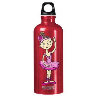 Pink Ballerina Girl Aluminum Water Bottle