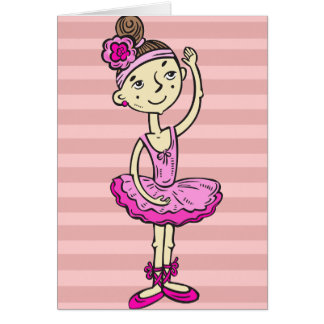 Pink Ballerina Girl Card