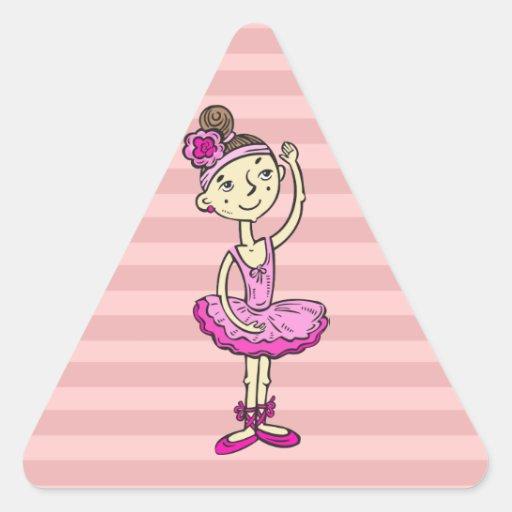 Pink Ballerina Girl Triangle Stickers