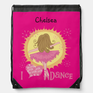 Pink Ballerina I Dance Customized Drawstring Bag