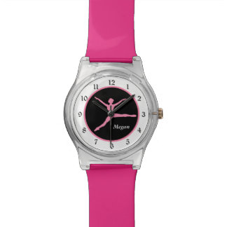 Pink Ballerina on Black Personalized Wristwatch