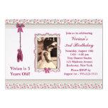 Pink Ballerina Photo Birthday Party 5x7 Paper Invitation Card