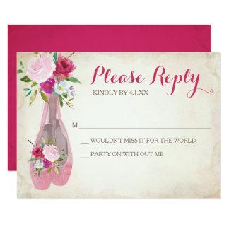 Pink Ballerina RSVP Card ~ Ballet Shoe