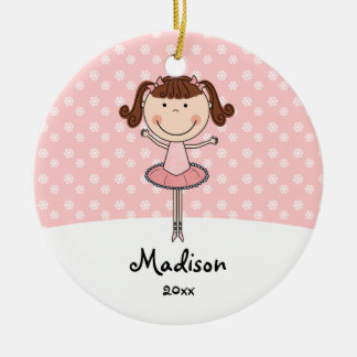 Pink Ballerina Snowflakes Personalized Christmas Ceramic Ornament