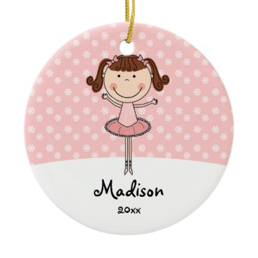 Christmas Themed Pink Ballerina Snowflakes Personalized Christmas Ceramic Ornament