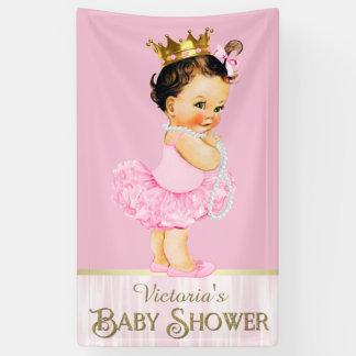 pink ballerina tutu pearl girl baby shower banner