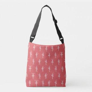 Pink Ballerinas Dancing Pattern Crossbody Bag