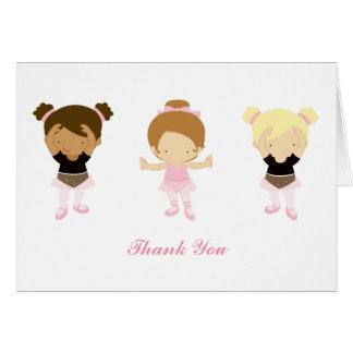 Pink Ballerinas Thank You Notes Card