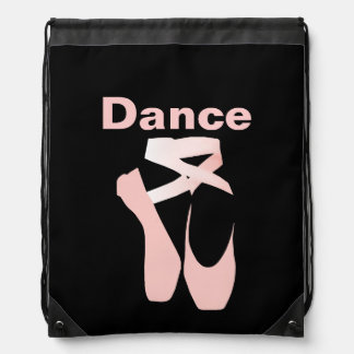 Pink Ballet Pointe Shoes Drawstring Backpack