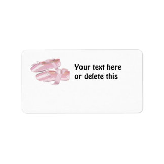 Pink Ballet Shoes Slippers Address Label