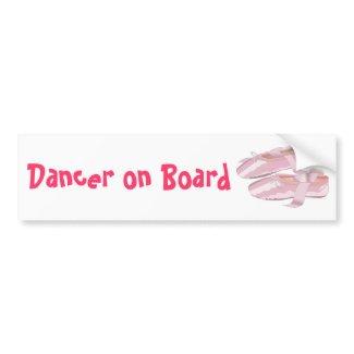 Pink Ballet Shoes Slippers Dancer on Board bumpersticker