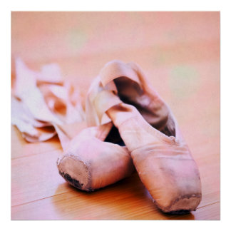 Pink Ballet Slipper Pointe Shoes Dance Template Poster