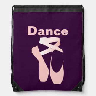 Pink Ballet Toe Shoes Drawstring Backpack