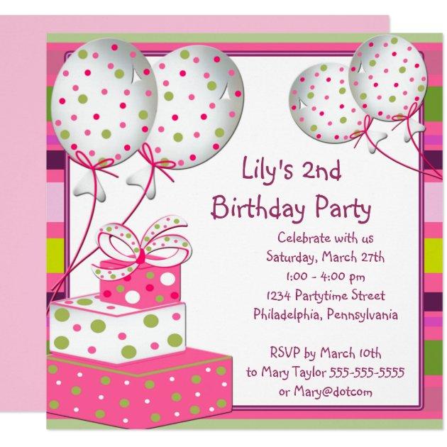 pink ballons girls 2nd birthday party card | zazzle, Birthday invitations