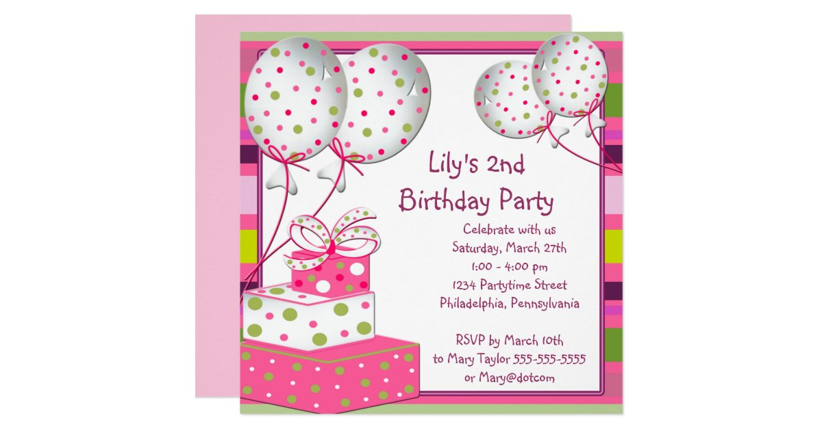 Pink Ballons Girls 2nd Birthday Party Card – 2nd Birthday Invite Wording
