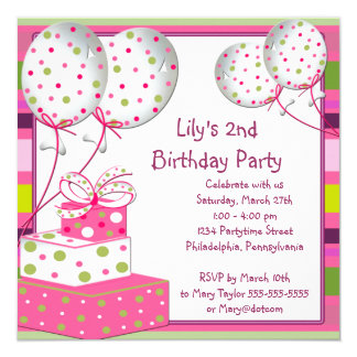 """Pink Ballons Girls 2nd Birthday Party 5.25"""" Square Invitation Card"""