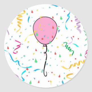 Pink balloon and confetti sticker for parties