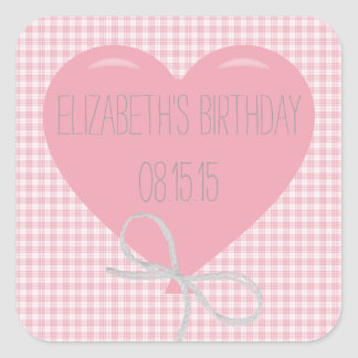 Pink Balloon and Gingham Birthday Square Sticker