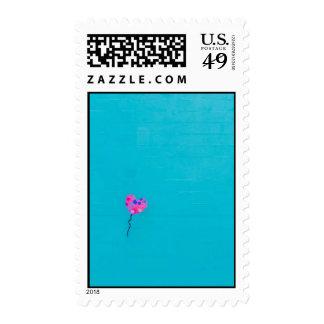 Pink Balloon Artist on Teal Postage