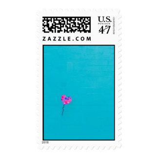 Pink Balloon Artist on Teal Stamp