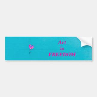 Pink Balloon Freedom on Teal Bumper Sticker