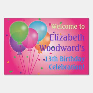 Pink Balloons Birthday Yard Sign (Small)
