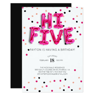Girls 5th Birthday Invitations
