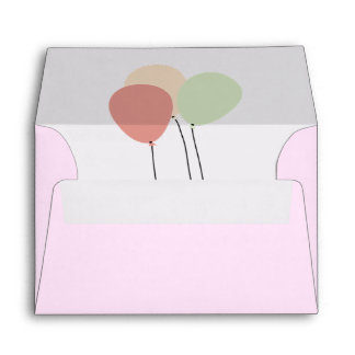 Pink Balloons Party Invitation Envelope