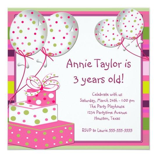 Pink Balloons Presents Girls 3rd Birthday Party Invitation