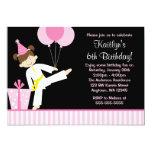 Pink Balloons Taekwondo Karate Girl Birthday Custom Announcement