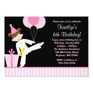 Pink Balloons Taekwondo Karate Girl Birthday Invitation