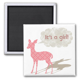 Pink Bambi Baby Announcement Magnet