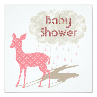 Pink Bambi Baby Shower Inviation Card