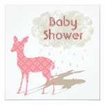 "Pink Bambi Baby Shower Inviation 5.25"" Square Invitation Card"
