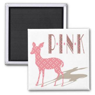 Pink Bambi Design Square Magnet
