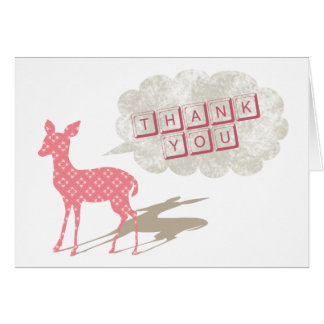 Pink Bambi Folded Thank You Greeting Card