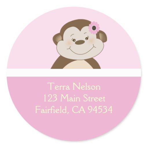 Pink Bambino Girl Monkey Return Address Stickers