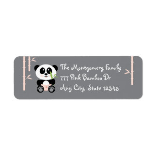 Pink Bamboo Baby Panda in Diapers Address Labels