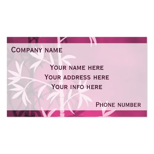 Pink bamboo business card
