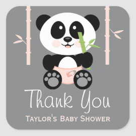 PInk Bamboo Panda Baby Shower Thank You Stickers