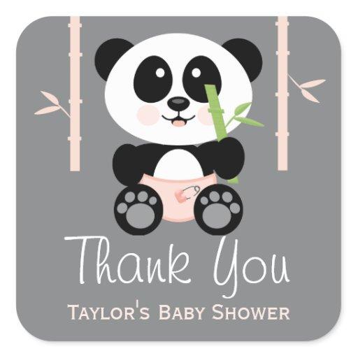 pink bamboo panda baby shower thank you stickers zazzle