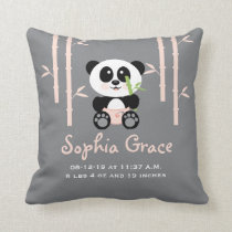 Pink Bamboo Panda Birth Announcement PIllow